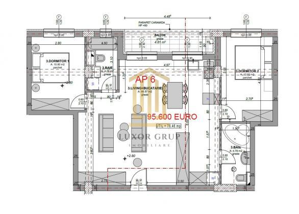 Direct Dezvoltator | Apartament 3 camere |2 Balcoane| 76 mpu